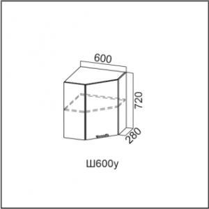 Ш600у Шкаф навесной 600 (угловой) Дуб Млечный Карамель