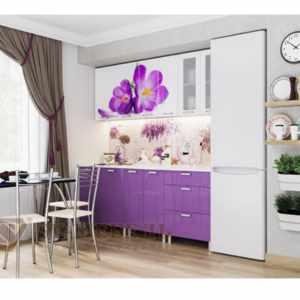 Кухня «Фрукты» Крокус МДФ 2,0 м  Белый/Фиолетовый металлик