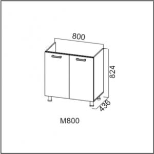 М800 Стол-рабочий 800 (под мойку) Ясень Шимо св./Ясень Шимо тм. Карамель