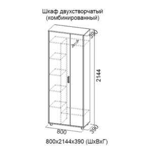Шкаф двухстворчатый (комбинированный) Визит-1
