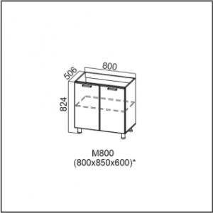 М800 Стол-рабочий 800 (под мойку) Лен